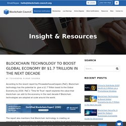 Blockchain Technology to Boost Global Economy by $1.7 Trillion in the Next Decade