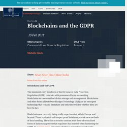 Blockchains and the GDPR