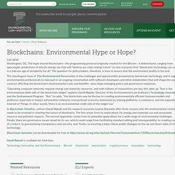 Blockchains: Environmental Hype or Hope?