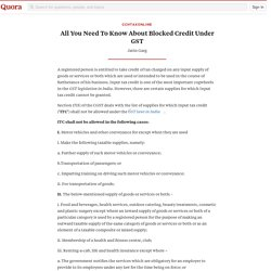 All You Need To Know About Blocked Credit Under... - CCHTaxOnline - Quora