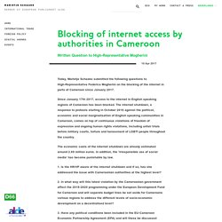 Blocking of internet access by authorities in Cameroon — Marietje Schaake