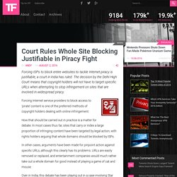 Court Rules Whole Site Blocking Justifiable in Piracy Fight