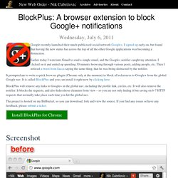 A browser app block Google+ notifications