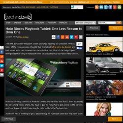 Hulu Blocks Playbook Tablet