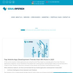 Top 6 Mobile App Development Trends that Will Rule in 2021! Equal Infotech