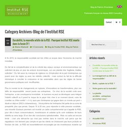 Blog de l'Institut RSE Archives - institut RSE