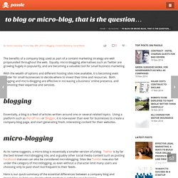 to blog or micro-blog, that is the question...