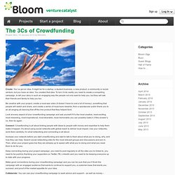 Blog Post - The 3Cs of Crowdfunding