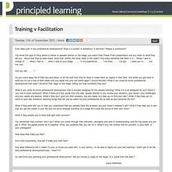 Training v Facilitation