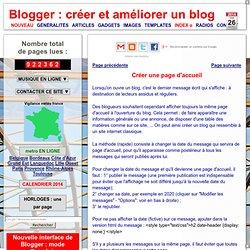 Blogger : créer et améliorer un blog: page accueil