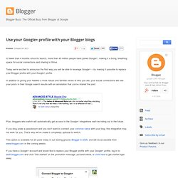 Use your Google+ profile with your Blogger blogs