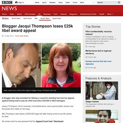 Blogger Jacqui Thompson loses £25k libel award appeal