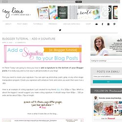 Blogger Tutorial :: Add a Signature to your Blog Posts