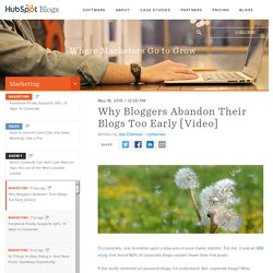 Why Bloggers Abandon Their Blogs Too Early [Video]