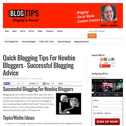 Quick Blogging Tips For Newbie Bloggers - Successful Blogging Advice