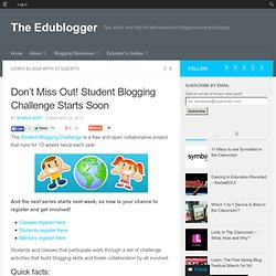 Don't Miss Out! Student Blogging Challenge Starts Soon