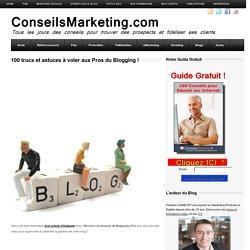 100 trucs et astuces à voler aux Pros du Blogging !ConseilsMarketing.fr