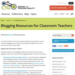 Blogging Resources for Classroom Teachers
