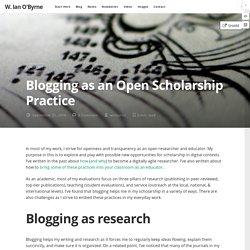 Blogging as an Open Scholarship Practice