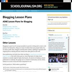 Blogging Lesson Plans – SchoolJournalism.org