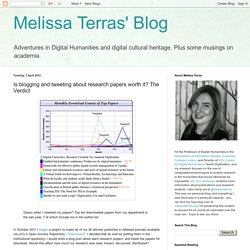 Melissa Terras' Blog: Is blogging and tweeting about research papers worth it? The Verdict