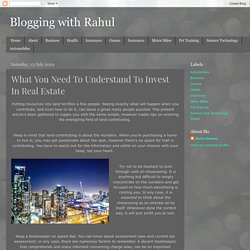 What You Need To Understand To Invest In Real Estate