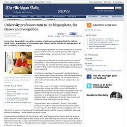 University professors turn to the blogosphere, for classes and r