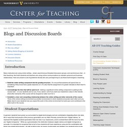 Blogs and Discussion Boards