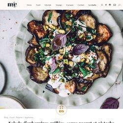 Salade d'aubergines grillées, sauce yaourt et pistache