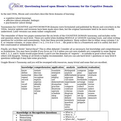 Questioning based upon Bloom's Taxonomy for the Cognitive Domain