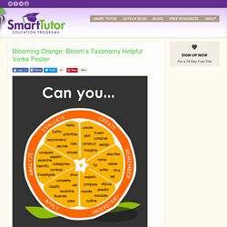 Blooming Orange: Bloom's Taxonomy Helpful Verbs Poster