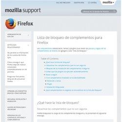 Lista de bloqueo de complementos para Firefox