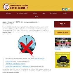 Appel à bloquer la « COP21 des fossoyeurs du climat » !