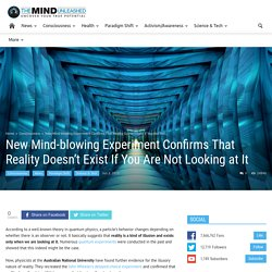 New Mind-blowing Experiment Confirms That Reality Doesn't Exist If You Are Not Looking at It