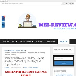 Golden PLR Blowout Package Review & Huge Bonuses Included