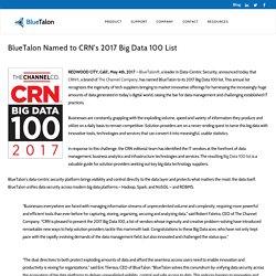 BlueTalon Named to CRN's 2017 Big Data 100 List - BlueTalon