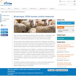 EFSA 08/03/17 Bluetongue: EFSA reviews control measures