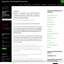 Part 1: Basic Bluetooth communications using App Inventor