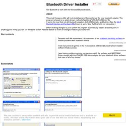 Bluetooth Driver Installer - Get Bluetooth to work with the Microsoft Bluetooth stack