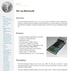 HC-05 Bluetooth - JMoon Technologies Wiki