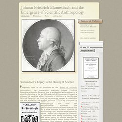 Johann Friedrich Blumenbach and the Emergence of Scientific Anthropology