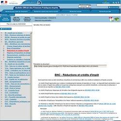 BNC - Réductions et crédits d'impôt