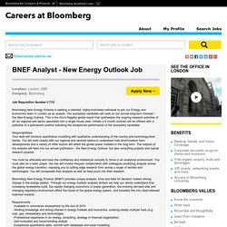 BNEF Analyst - New Energy Outlook Job