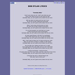 BOB DYLAN LYRICS - Someday Baby