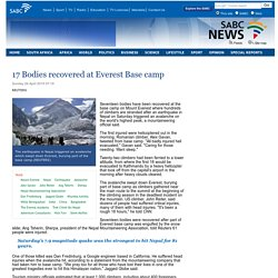 17 Bodies recovered at Everest Base camp :Sunday 26 April 2015