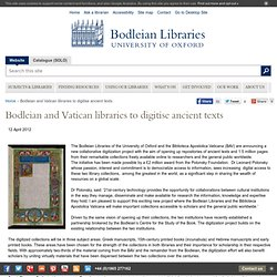 Bodleian and Vatican libraries to digitise ancient texts - Bodleian Libraries