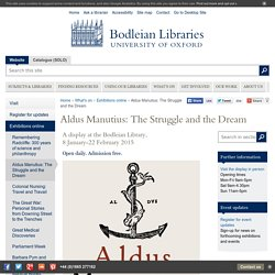 Aldus Manutius: The Struggle and the Dream