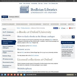 Bodleian Libraries | e-Books at Oxford University