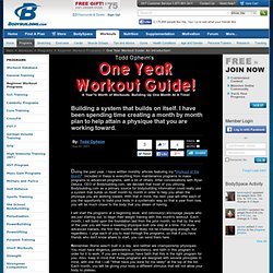 One Year Workout Guide: An Introduction!