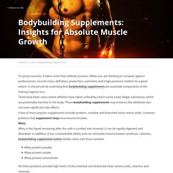 Bodybuilding Supplements: Insights for Absolute Muscle Growth - Bodybuilding Supplements